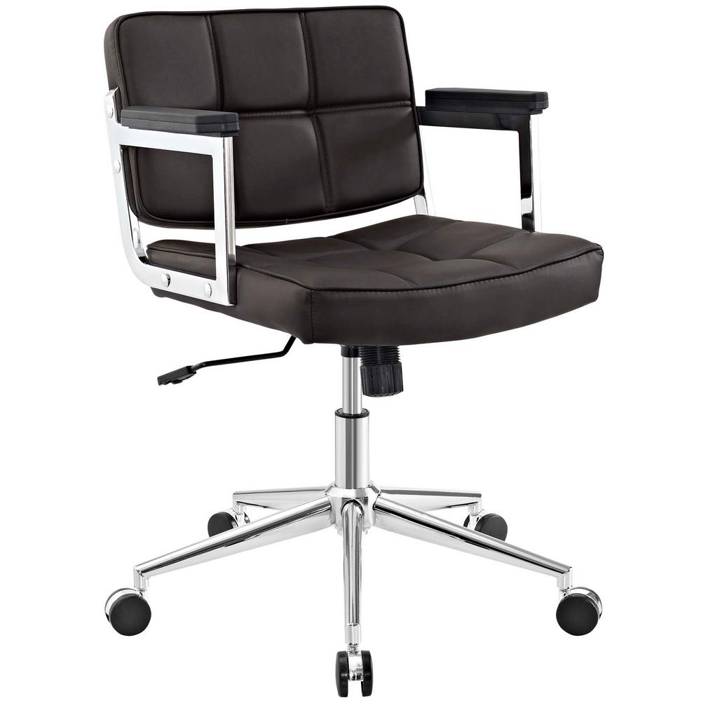 Portray Brown Mid Back Upholstered Vinyl Office Chair