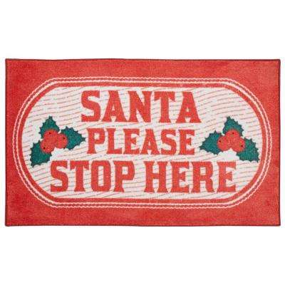 Santa Stop Here Red 2 ft. 6 in. x 4 ft. 2 in. Area Rug