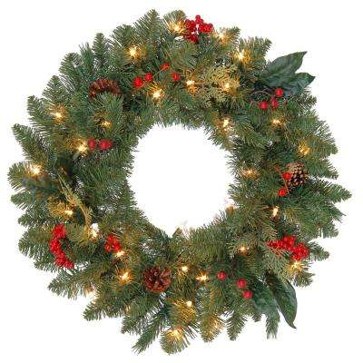 24 in. Pre-Lit Winslow Fir Wreath with Clear Lights
