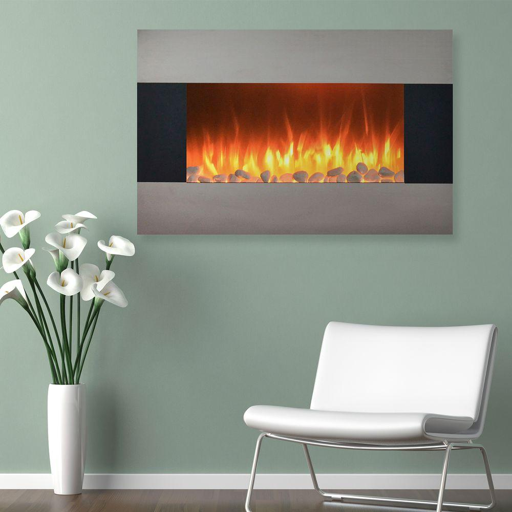 Electric Fireplace Wall Mount Floor Stand In Stainless