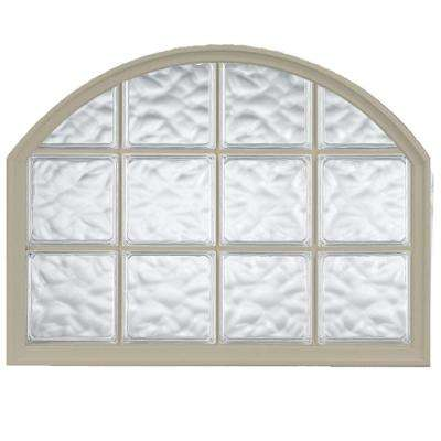 42 in. x 50 in. Acrylic Block Arch Top Vinyl Window - Tan