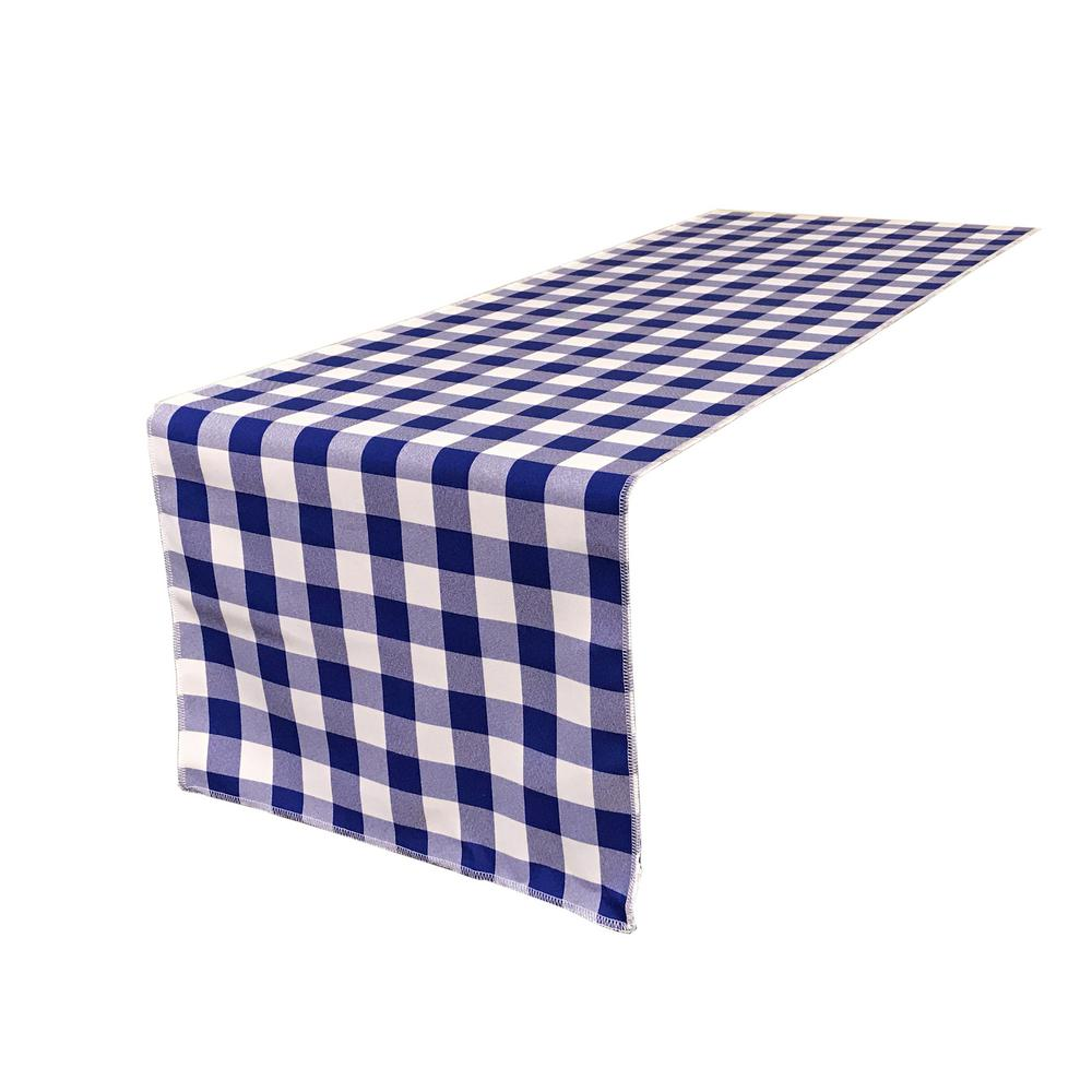 La Linen 14 In X 108 In White And Royal Blue Polyester