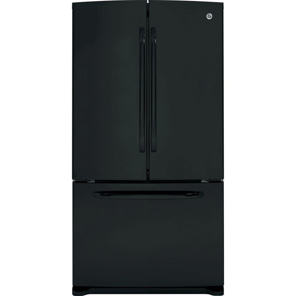 GE 35.75 in. W 25.8 cu. ft. French Door Refrigerator in Black