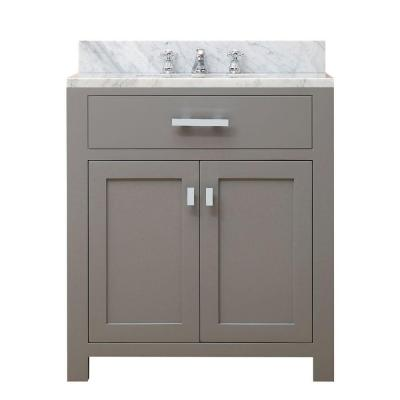 30 in. W x 21 in. D Vanity in Cashmere Grey with Marble Vanity Top in Carrara White and Chrome Faucet