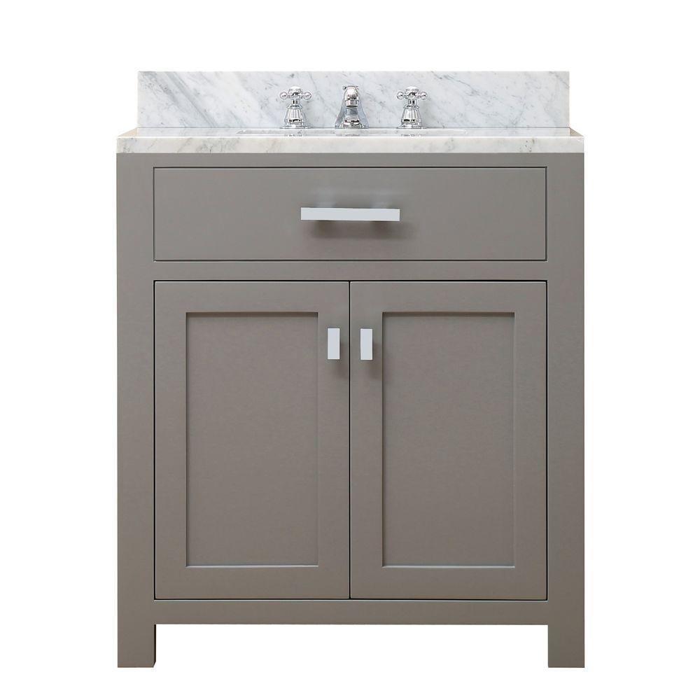 Water creation 30 in w x 21 in d vanity in cashmere grey with marble vanity top in carrara for 30 x 21 bathroom vanity white