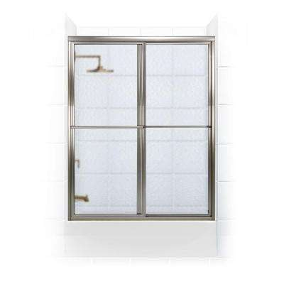 Newport Series 54 in. x 55 in. Framed Sliding Tub Door with Towel Bar in Brushed Nickel and Aquatex Glass