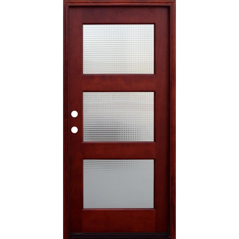 Pacific Entries 36 in. x 80 in. Contemporary 3 Lite Cross Reed Stained Mahogany Wood Prehung Front Door with 6 in. Wall Series