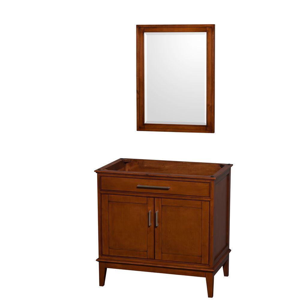 Hatton 35 in. Vanity Cabinet with Mirror in Light Chestnut