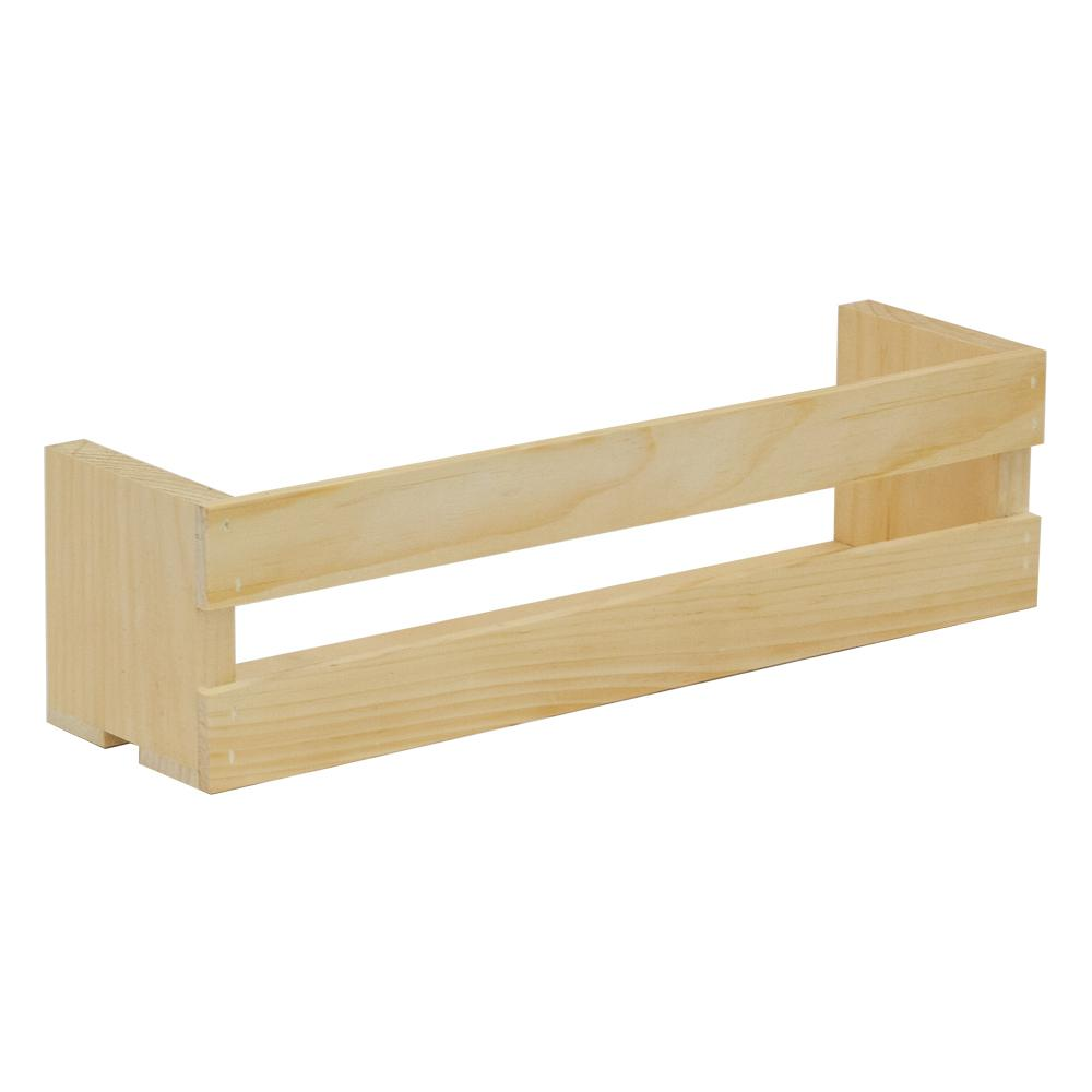 18 in. x 4.75 in. Natural Pine Half Wall Crate
