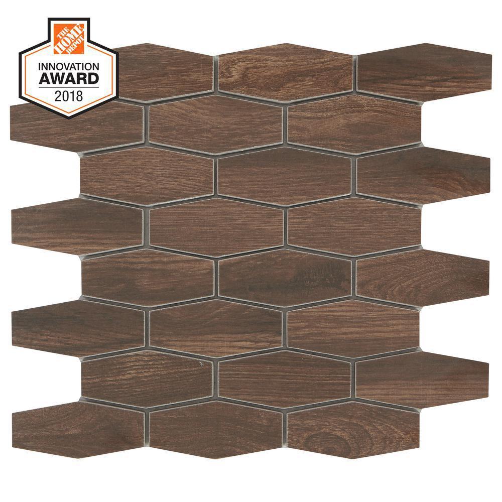 Autumn Wood Linear Hexagon 12 in. x 13-1/2 in. x 8mm Glazed Porcelain Mosaic Tile