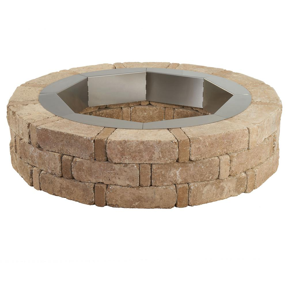 Pavestone RumbleStone 46 in. x 10.5 in. Round Concrete Fire Pit Kit No. 1 in. Cafe with Round Steel Insert
