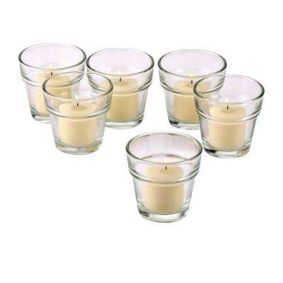 Clear Glass Flower Pot Votive Candle Holders with Ivory Votive Candles (Set of 12)