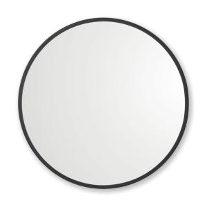 18 in. W x 18 in. H Rubber Framed Round Bathroom Vanity Mirror in Black