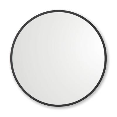 24 in. W x 24 in. H Rubber Framed Round Bathroom Vanity Mirror in Black