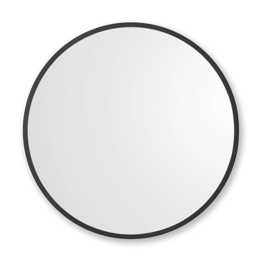 24 in. W x 24 in. H Rubber Framed Round Bathroom Vanity Mirror in Black