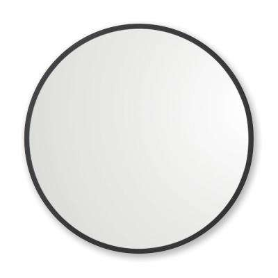 30 in. x 30 in. Rubber Framed Round Single Mirror in Black