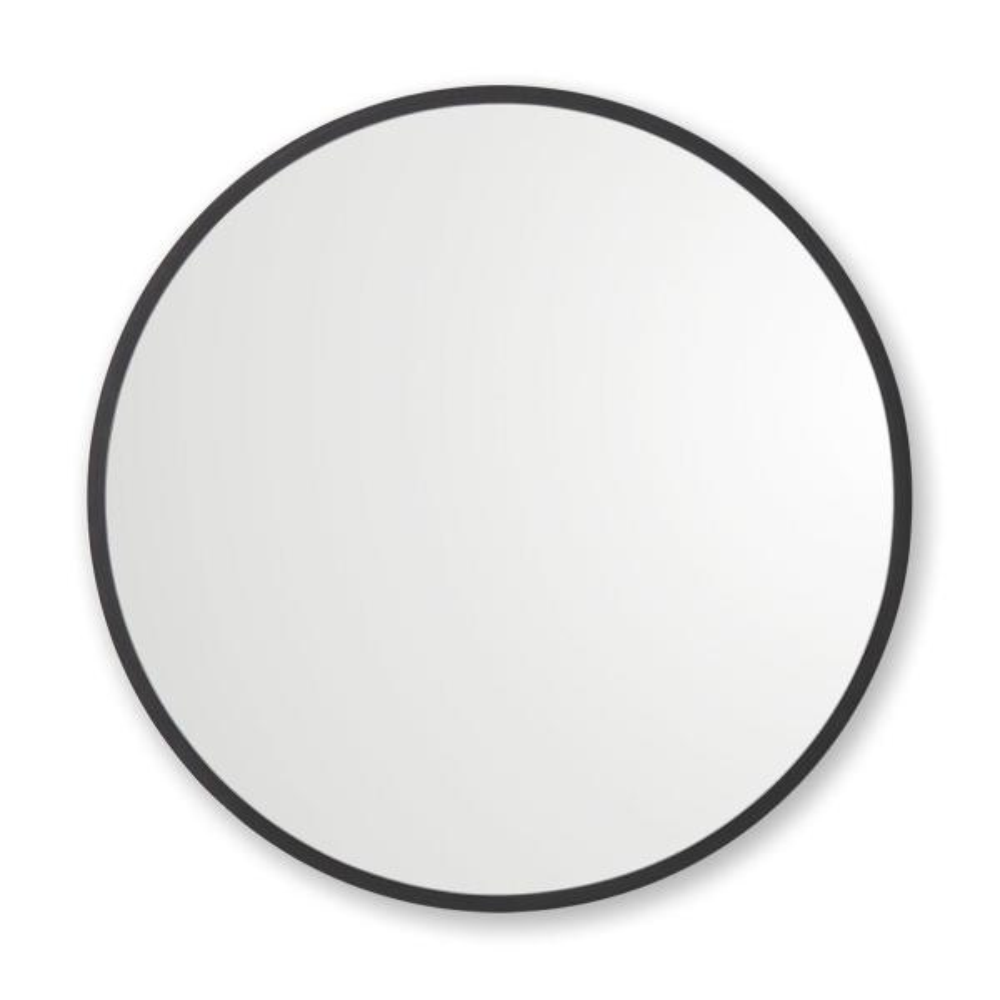 30 in. W x 30 in. H Rubber Framed Round Bathroom Vanity Mirror in Black