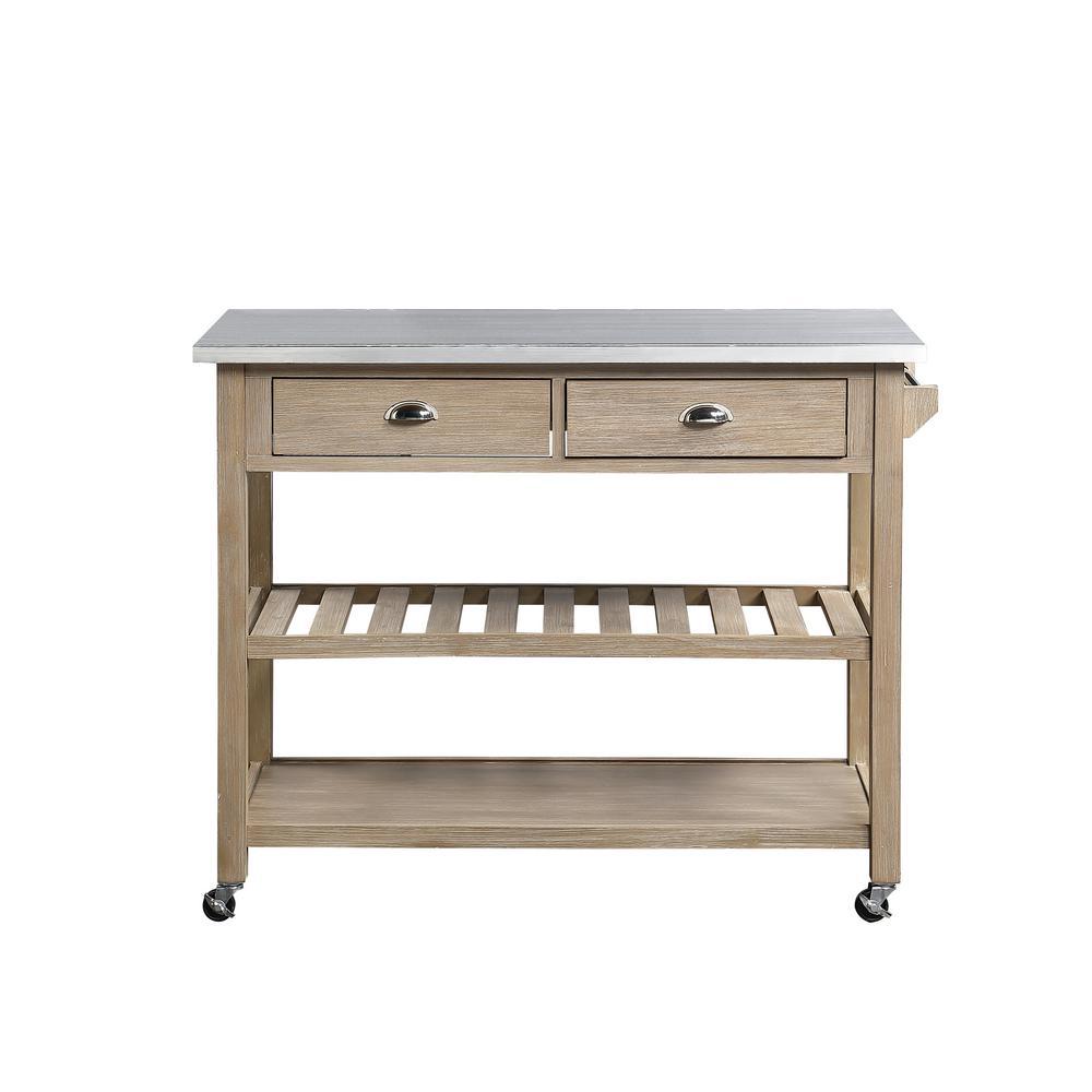 Alex Neutral Gray Kitchen Cart with Wine Rack