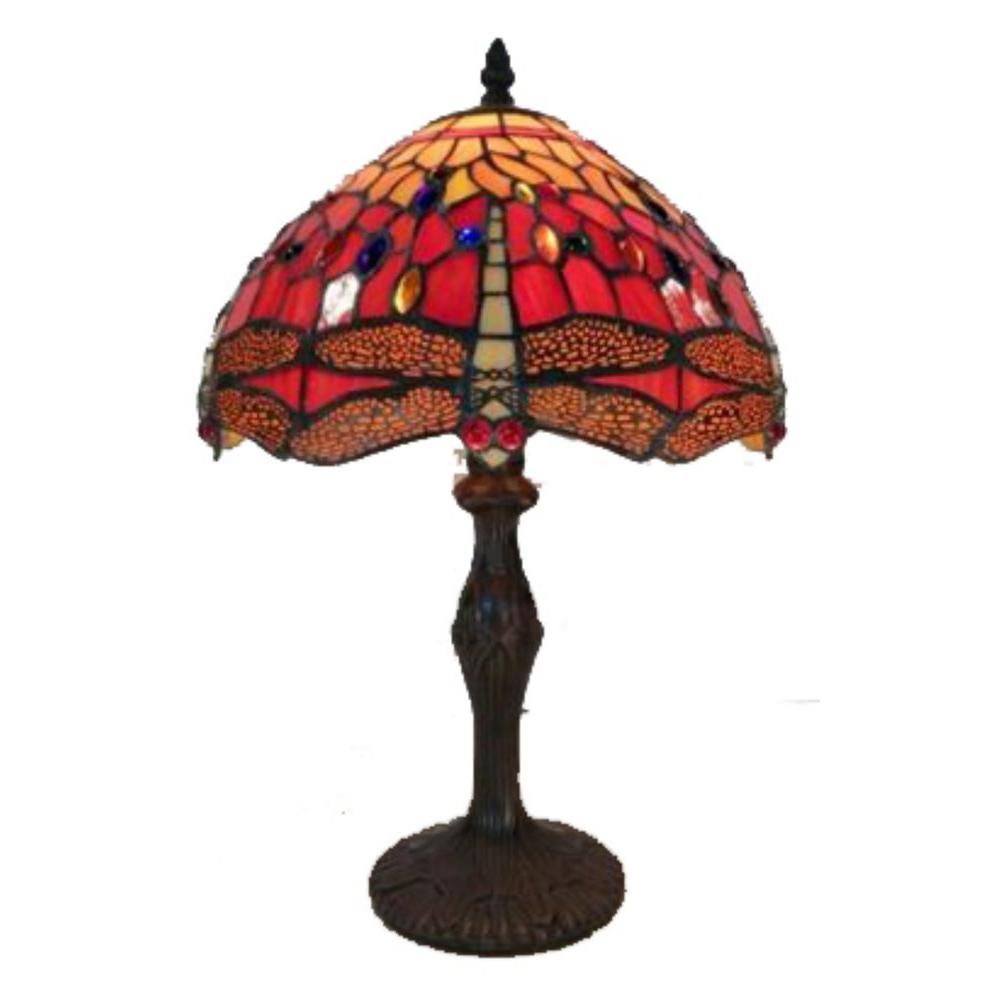 Warehouse of Tiffany 18 in. Red Orange Dragonfly Brown Table Lamp