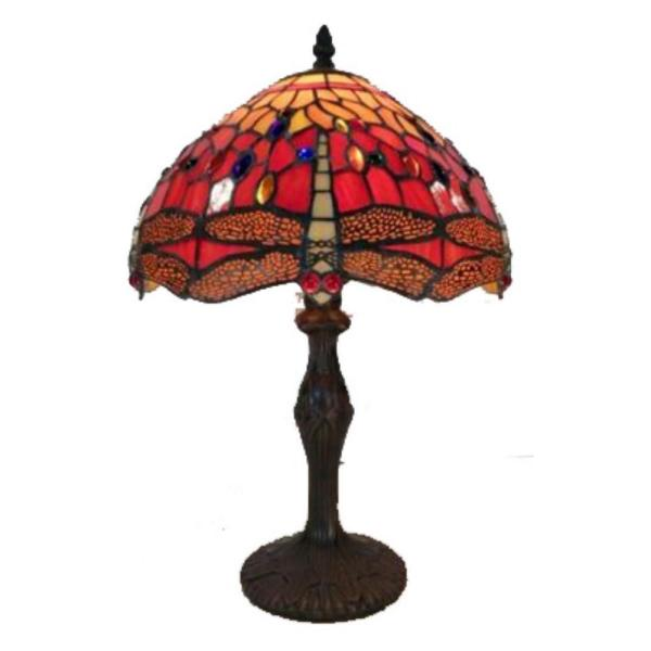 18 in. Red Orange Dragonfly Brown Table Lamp