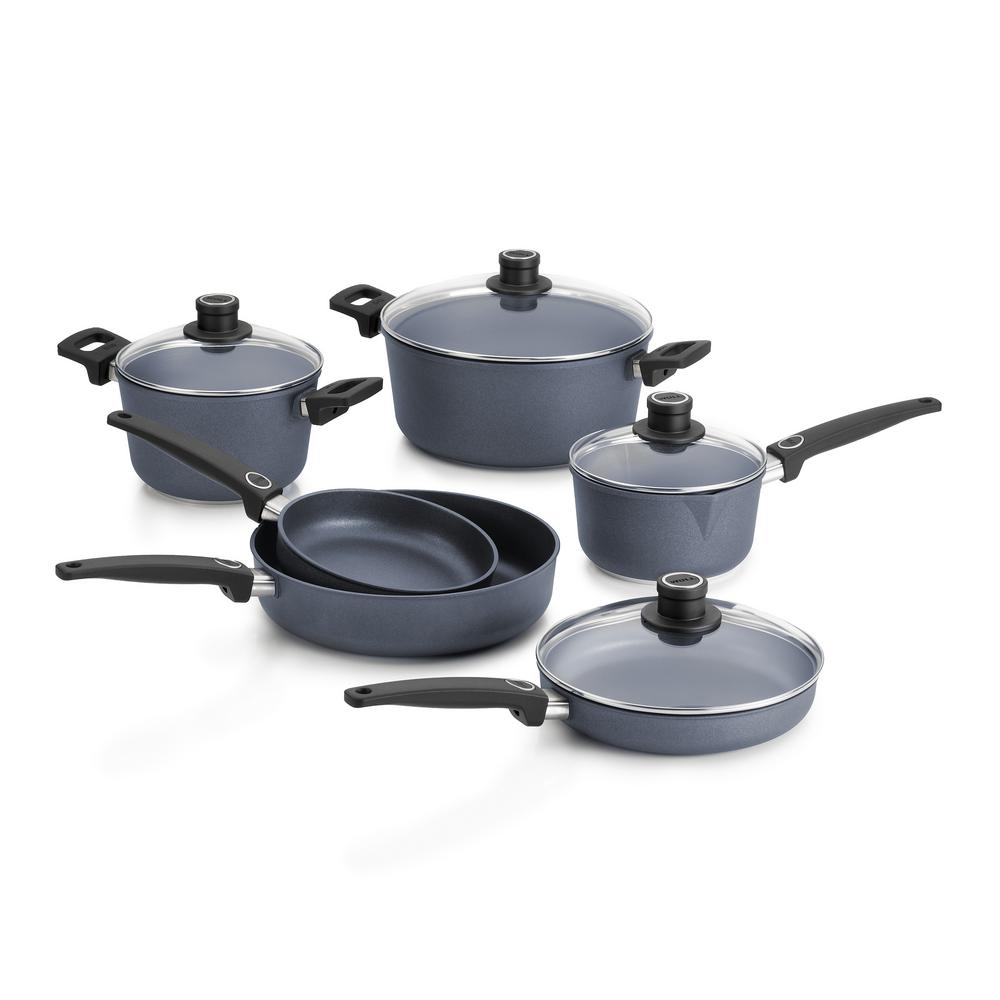 woll diamond lite induction cast 10 piece gray cookware set with lids wset10dpi the home depot. Black Bedroom Furniture Sets. Home Design Ideas