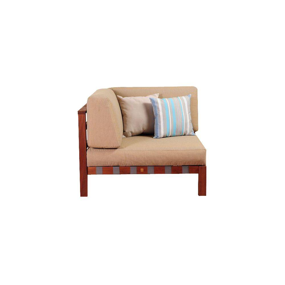 Ia Maya Eucalyptus Sectional Corner Patio Chair With Khaki Cushions By Jamie Durie