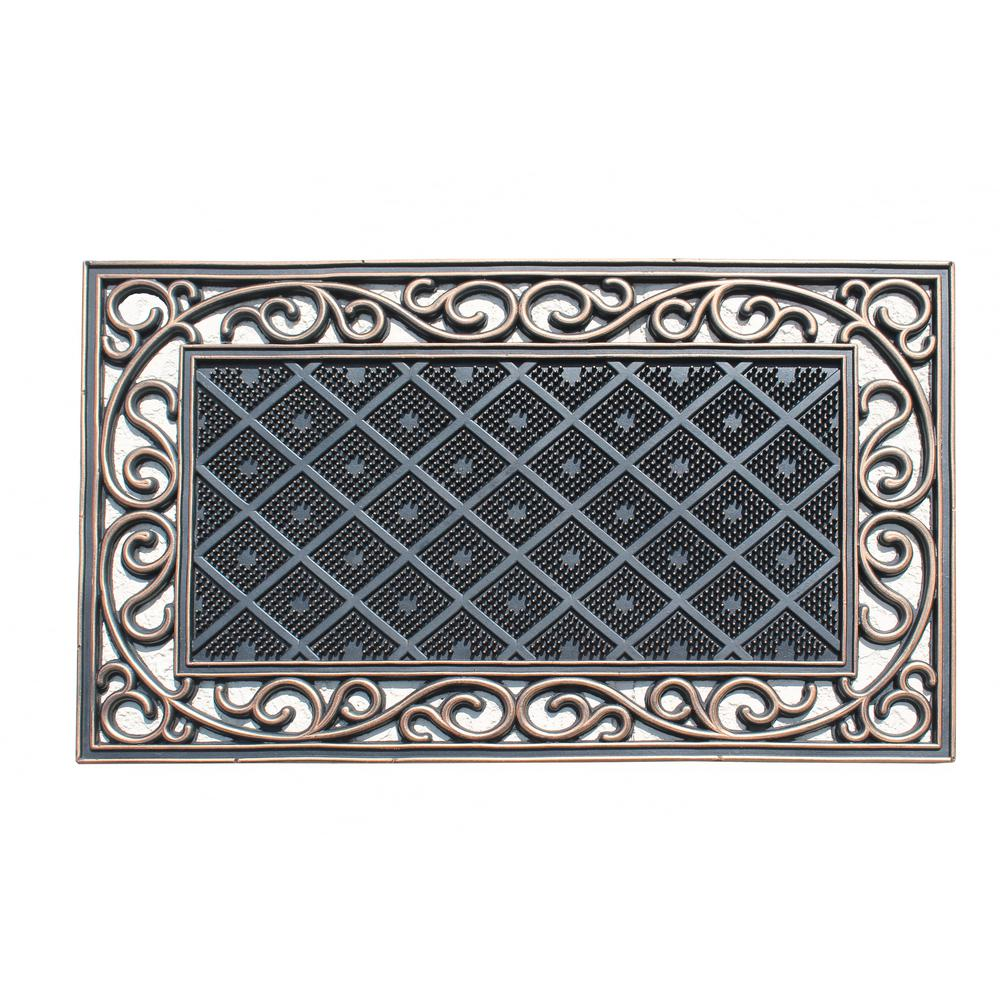 A1hc Diamond Artistic Grill Border 18 In X 30 100 Rubber Indoor Outdoor Door Mat With Copper Finish A1hclh31 The Home Depot