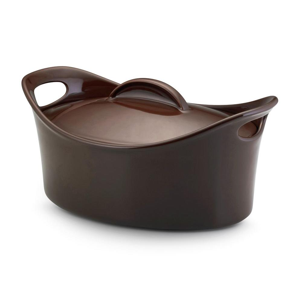 Rachael Ray Casseroval 4-1/4 qt. Covered Casserole in Brown
