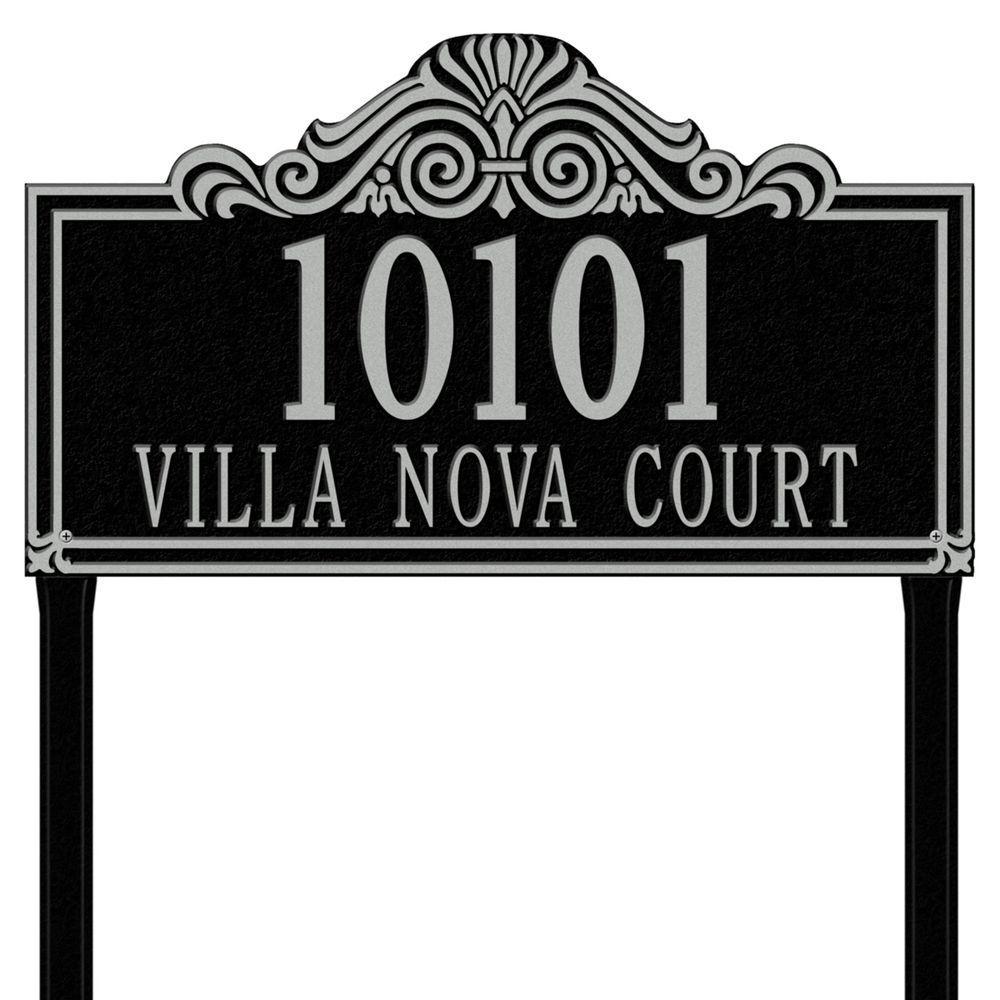 Villa Nova Rectangular Black/Silver Estate Lawn Two Line Address Plaque