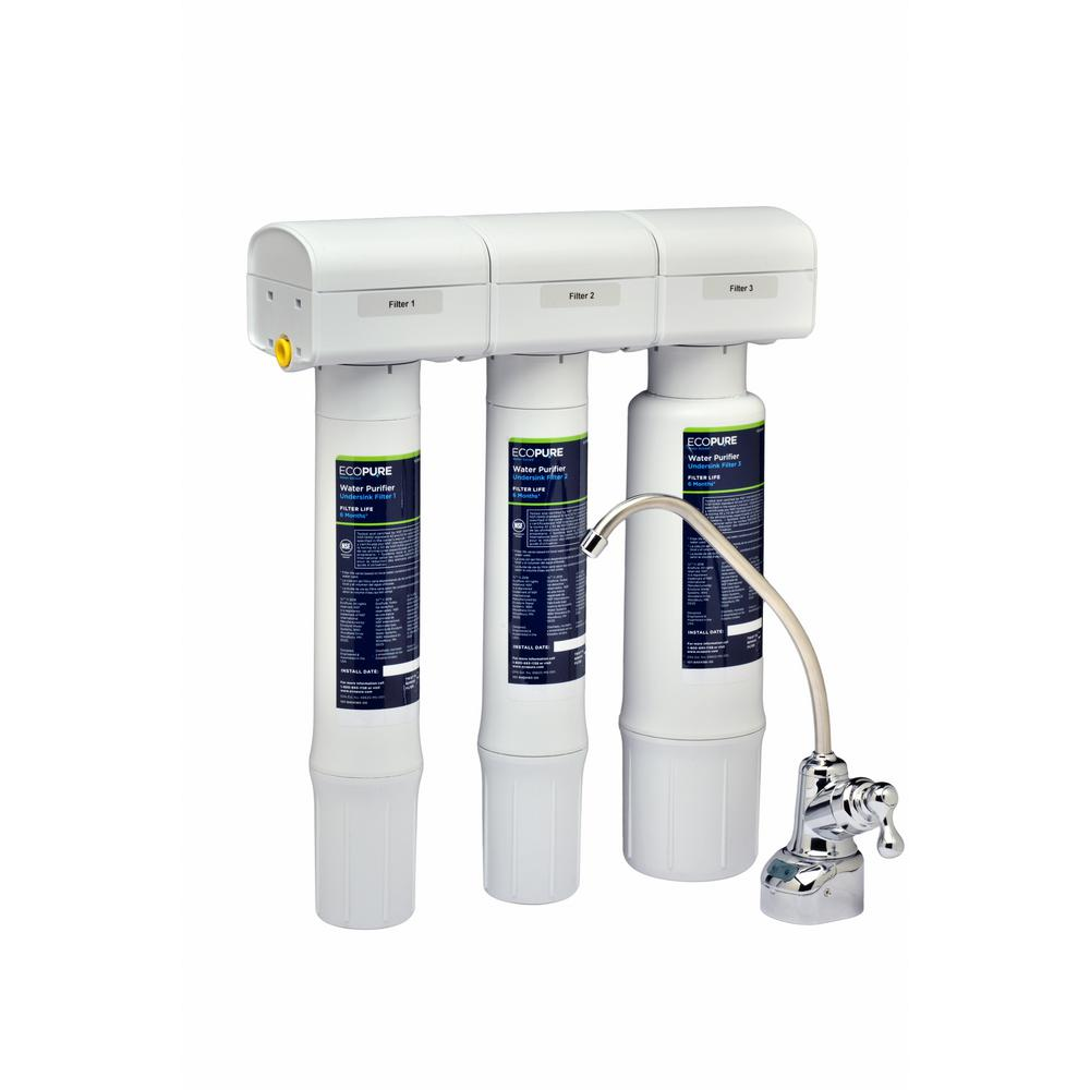 EcoPure Water Purifier Under Sink Drinking Water Filter S...