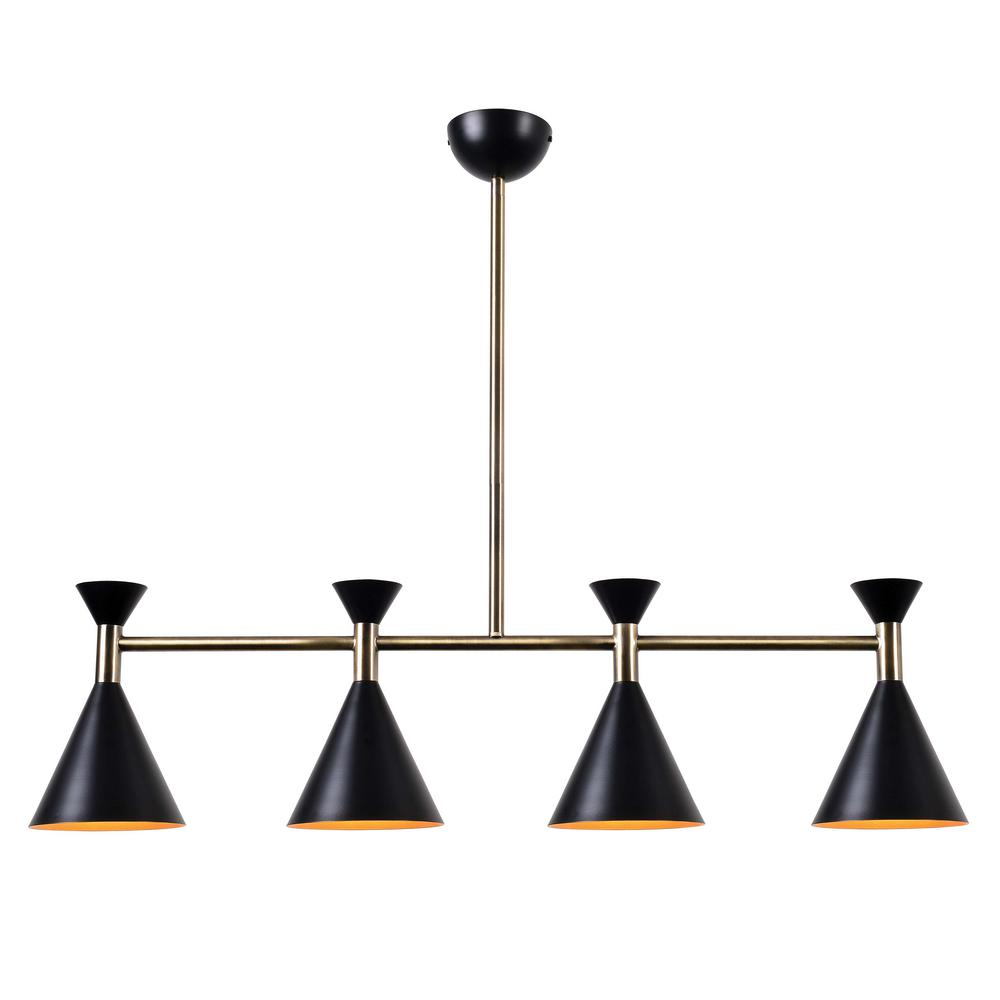 Kenroy Home Arne 4-Light Matte Black with Antique Brass Island Pendant