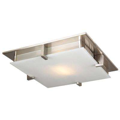 1-Light Ceiling Light Satin Nickel Acid Frost Glass Flush Mount