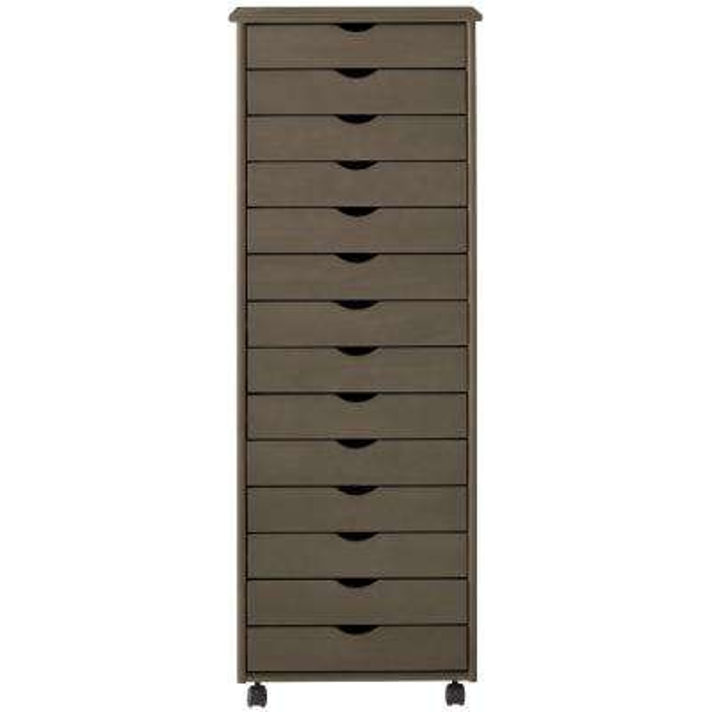 Stanton 14-Drawer Storage Cart in Antique Grey