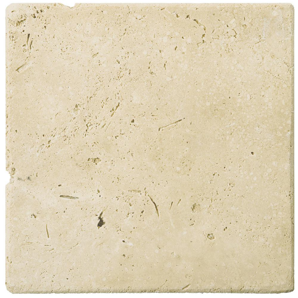 Trav Ancient Tumbled Beige 3.94 in. x 3.94 in. Travertine Wall