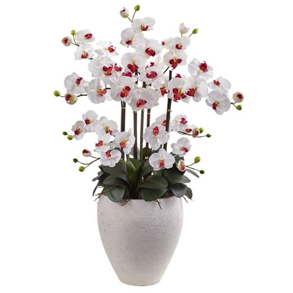 Nearly Natural Phalaenopsis Orchid with White Planter