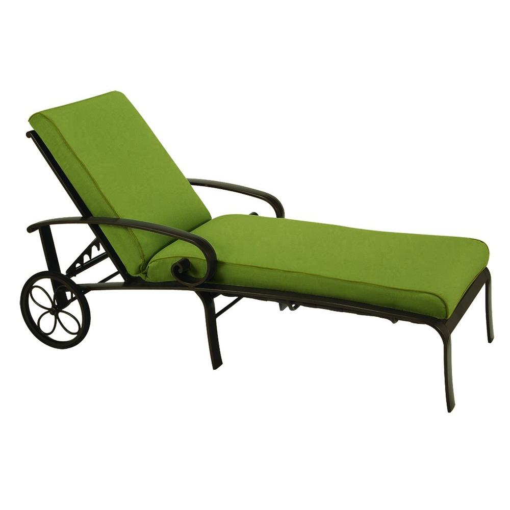 Tradewinds Valle Vista Citron Canvas and Java Chaise-DISCONTINUED