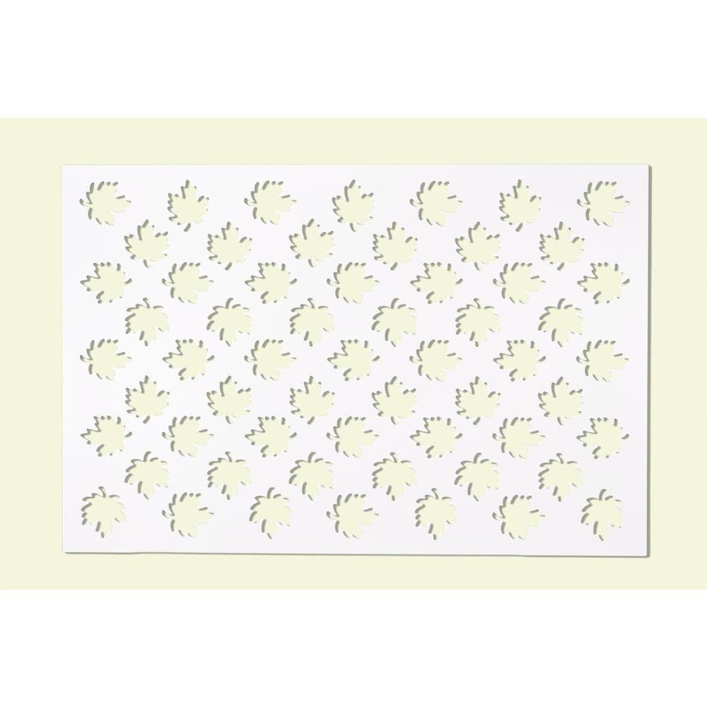 1/4 in. x 32 in. x 4 ft. White Maple Leaves Vinyl Decor Panel