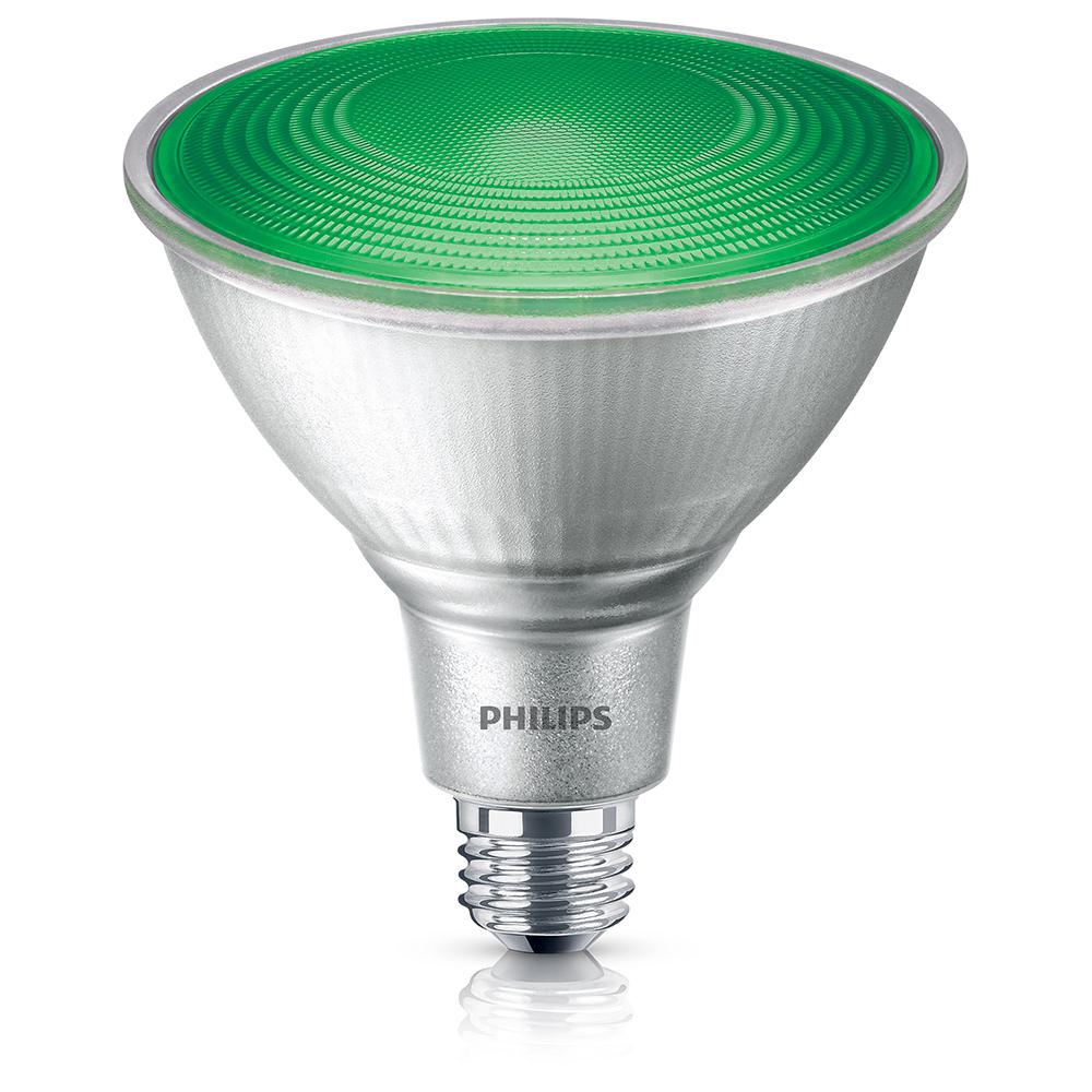 Philips 90w Equivalent Par38 Green Led Flood Light Bulb 4 Pack 469098 The Home Depot