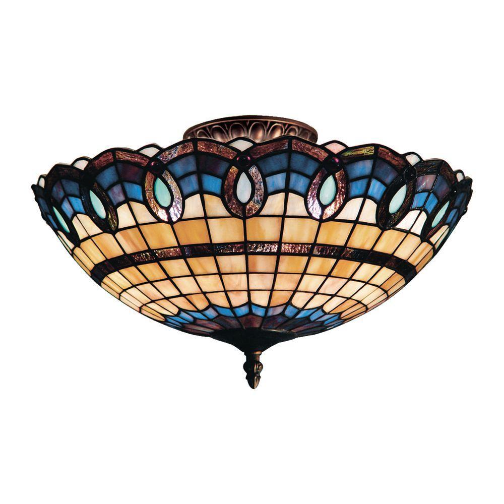 Titan Lighting Victorian Ribbon 3-Light Classic Bronze Ceiling Semi-Flush Mount Light