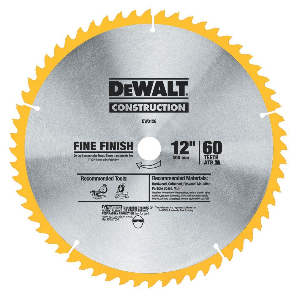 Dewalt series 20 12 in 60t fine finish saw blade dw3126 the home dewalt series 20 12 in 60t fine finish saw blade keyboard keysfo Images