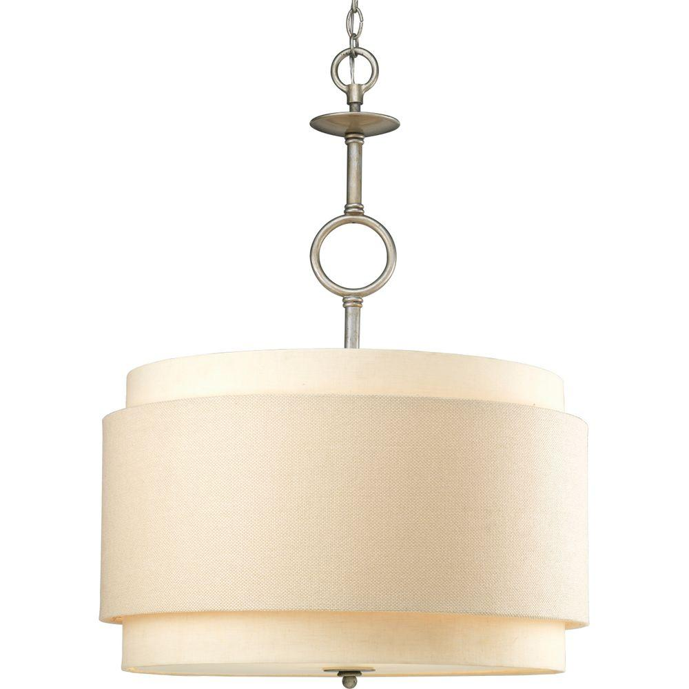 Progress Lighting Ashbury Collection 3 Light Silver Ridge Pendant With Toasted Linen Shade