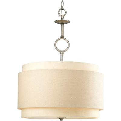 Ashbury Collection 3-Light Silver Ridge Pendant with Toasted Linen Shade