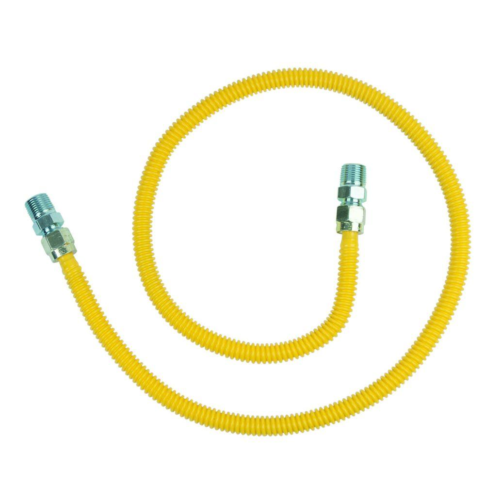 BrassCraft ProCoat 1/2 in. MIP x 1/2 in. MIP x 48 in. Stainless Steel Gas Connector 1/2 in. O.D. (60,500 BTU)