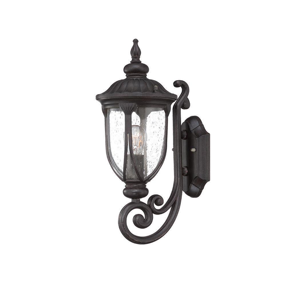 Laurens Collection 1-Light Black Coral Outdoor Wall-Mount Light Fixture