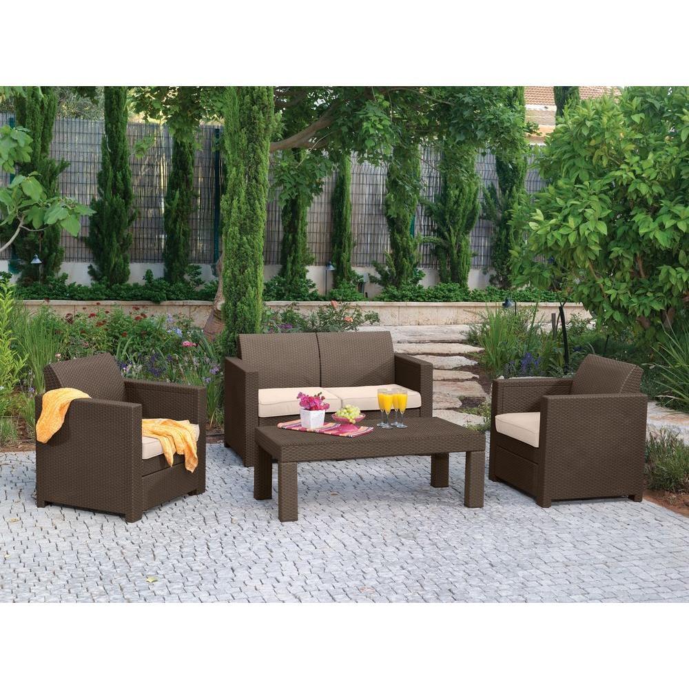 null Limousine 4-Piece Patio Conversation Set with Tan Cushions-DISCONTINUED