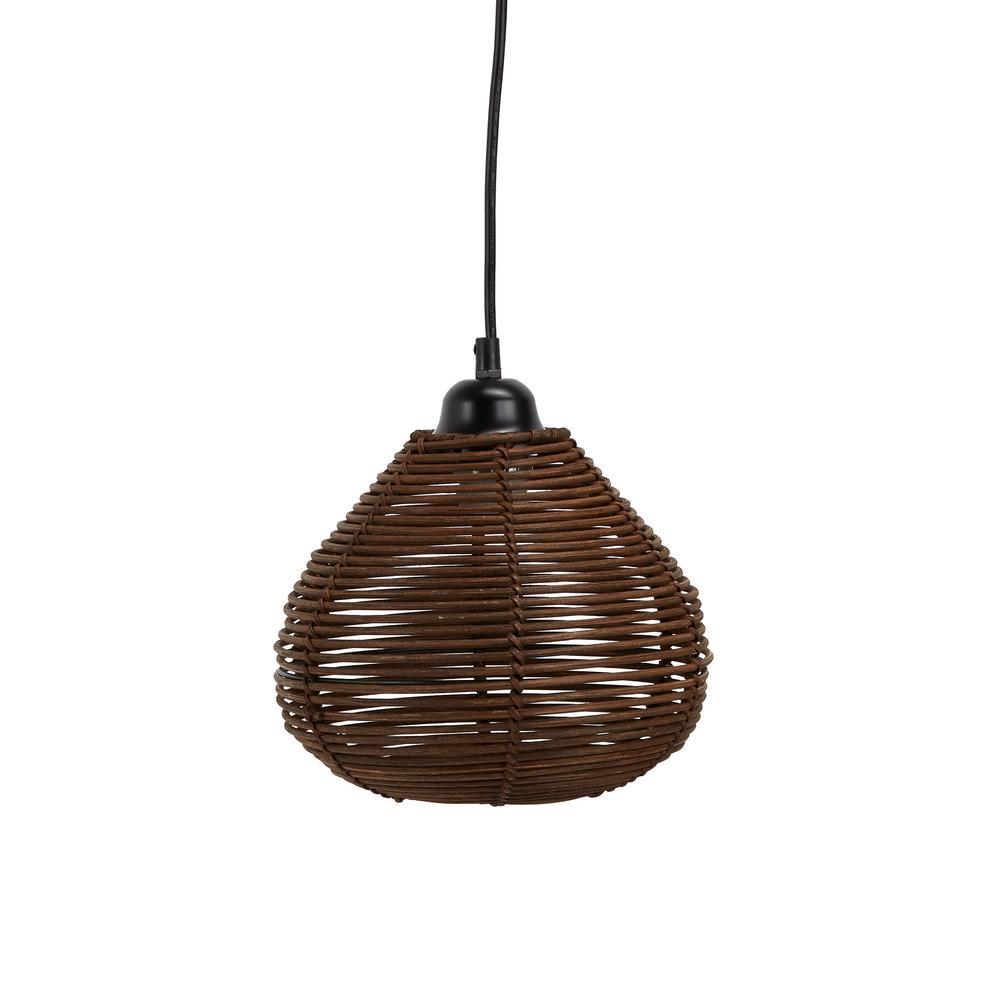Delilah 6-Watt Brown Woven Wicker Hanging 1-Light Integrated LED Pendant