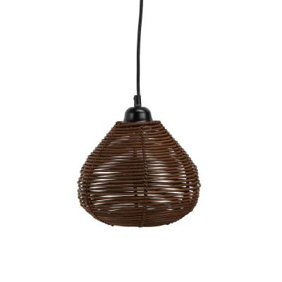 Delilah 6-Watt Brown Woven Wicker Hanging 1-Light Integrated LED Pendant