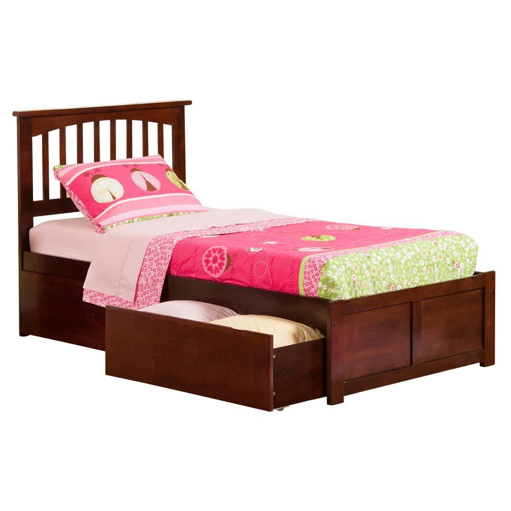 Atlantic Furniture Mission Walnut Twin XL Platform Bed With Flat