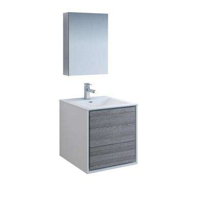 Catania 24 in. Modern Wall Hung Vanity in Glossy Ash Gray with Vanity Top in White with White Basin and Medicine Cabinet