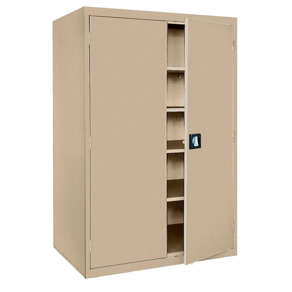 Sandusky Elite Series 72 In H X 46 W 24 D 5 Shelf Steel Recessed Handle Storage Cabinet Tropic Sand